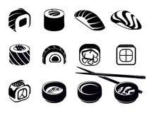 Monochrome Japanese Food Icons Set Royalty Free Stock Photo