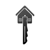Monochrome key chain in house shape icon Stock Photography