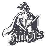 Monochrome knight sport logo. On white background. Perfect for sport team mascot Royalty Free Stock Photos