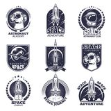 Monochrome labels for astronauts. Vector badges templates with place for your text Stock Images