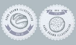 Monochrome labels design with illustration of buns and bread. Stock illustration stock illustration