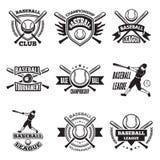 Monochrome labels or emblem for baseball club. Vector badges isolate on white stock illustration