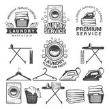 Monochrome labels of laundry service. Illustrations of washing machines. Service machine wash, hanger and laundry emblem vector Stock Images