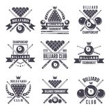 Monochrome labels or logos for billiard club. Vector illustrations of snooker balls vector illustration