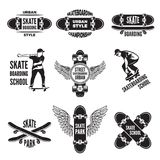 Monochrome labels of skaters. Pictures of skateboarding vector illustration