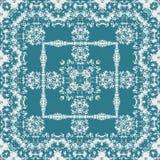 Monochrome lace arabesque square carpet in teal. Monochrome lace arabesque square carpet Royalty Free Stock Photos