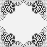 Monochrome lace frame. Template greeting card or invitation with flowers in the corners. Royalty Free Stock Photography