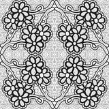 Monochrome lace pattern. Background for greeting card or invitation with flowers in the corners. Royalty Free Stock Photos