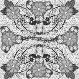 Monochrome lace seamless pattern of flowers and leaves. Royalty Free Stock Photography