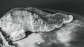 Monochrome landscape Navagio beach Stock Photos