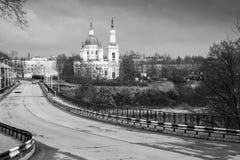 Monochrome landscape with St. Catherine Cathedral of Kingisepp Stock Images