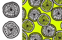 Monochrome lemon slices and seamless backgroud Stock Image