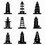 Monochrome lighthouse symbols collection Stock Image