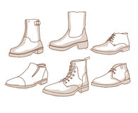Monochrome line art boots with shading Stock Images