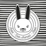 Monochrome linear background with silhouette frame decorative and face rabbit cute animals text. Vector illustration Stock Photos