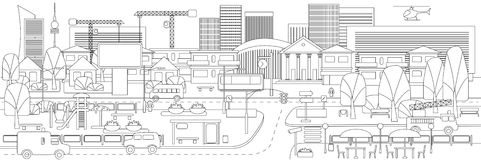 Monochrome Linear Cityscape Concept. With vehicles trees buildings road bus stop cafe billboards children playground vector illustration Stock Images