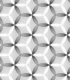 Monochrome linear striped puckered hexagons Stock Images