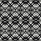 Monochrome lines and polygons abstract geometric seamless pattern in retro style Royalty Free Stock Images