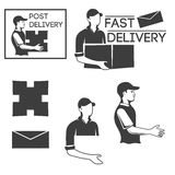 Monochrome logo of the courier or mail carrier. Stock Photos