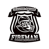 Monochrome logo, emblem, fireman in a gas mask. Royalty Free Stock Images