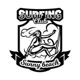 Monochrome logo, emblem, girl surfer. Surfing on the waves, the beach, weekend, extreme sport. Vector illustration. Stock Image