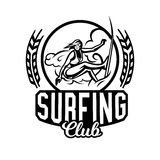 Monochrome logo, emblem, girl surfer. Surfing on the waves, the beach, weekend, extreme sport. Vector illustration. Stock Images