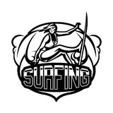 Monochrome logo, emblem, girl surfer. Surfing on the waves, the beach, weekend, extreme sport. Vector illustration. Royalty Free Stock Images
