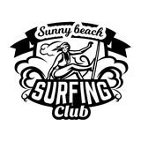 Monochrome logo, emblem, girl surfer. Surfing on the waves, the beach, weekend, extreme sport. Vector illustration. Stock Photos