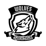 Monochrome logo, emblem, howling wolf Royalty Free Stock Images