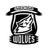 Monochrome logo, emblem, howling wolf Stock Photography