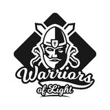 Monochrome logo, emblem, knight in helmet against the background of swords crosswise. Viking, barbarian, warrior Royalty Free Stock Photos