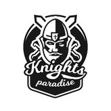 Monochrome logo, emblem, knight in helmet against the background of swords crosswise. Viking, barbarian, warrior Royalty Free Stock Photo