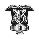 Monochrome logo, emblem, knight in helmet against the background of swords crosswise. Viking, barbarian, warrior Stock Photo