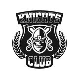 Monochrome logo, emblem, knight in helmet against the background of swords crosswise. Viking, barbarian, warrior Stock Photography