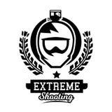 Monochrome logo, helmet of the rider. Mountain biking, camera, video shooting, extreme sports. Vector illustration. Stock Image