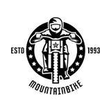 Monochrome logo, mountain bike racer. Downhill, freeride, extreme sport. Vector illustration. Stock Photos
