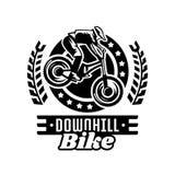 Monochrome logo, mountain bike racer. Downhill, freeride, extreme sport. Vector illustration. Royalty Free Stock Images