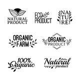 Monochrome logotype set. Badges, labels , with plants, herb and leaves elements, wreaths and laurels green branches Stock Photo