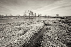 Monochrome Long Exposure River Landscape Stock Photo