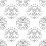 Monochrome Lotus Seamless Pattern Stock Images