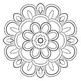 Monochrome mandala. A repeating pattern in the circle. A beautiful image for scrapbook. Picture for meditation. Calm flowery motif royalty free illustration