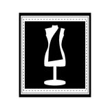 Monochrome manikin tailor shop design in frame Royalty Free Stock Images