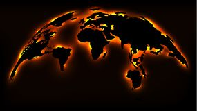Monochrome Map of the World with Neon Lights stock illustration