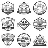 Monochrome Marine Animals Labels Set de vintage Illustration Stock