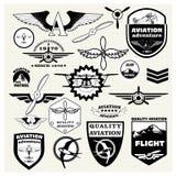 Monochrome Mega Set of  the theme aviation. Monochrome Mega Set of retro emblems, design elements , badges and logo patches on the theme aviation Royalty Free Stock Photography