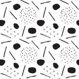 Monochrome Memphis Pattern-01. Abstract pattern of black brush strokes on white. Ink doodles.  Repeatable background for stationary, posters, cards, banners Stock Photography