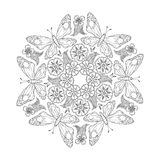 Monochrome Mendie Mandala with butterflies and flowers. Zenart inspired. Stock Photos
