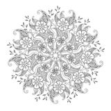 Monochrome Mendie Mandala with flowers and leaves Stock Photos