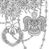 Monochrome Merry Christmas Illustration, Ethnic Motif. Angel, Heart, Bows Decorations on the Tree. Holiday Background in Doodle Line Style. Coloring Book Page Royalty Free Stock Photo