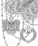 Monochrome Merry Christmas Illustration, Ethnic Motif. Angel, Heart, Bows Decorations on the Tree. Holiday Background in Doodle Line Style. Coloring Book Page stock illustration